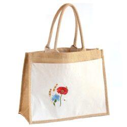 Juteriidest kott lillemotiiviga
